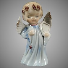 Vintage Porcelain Angel Figure - Little Angel in Blue Carrying a Heart