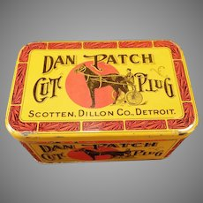Vintage Dan Patch Cut Plug Tobacco Tin – Nice Colorful Advertising with Horse Graphics