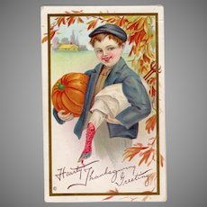 Embossed Vintage Thanksgiving Postcard with Young Boy