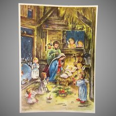 Vintage West German Christmas Advent Calendar with Nativity Manger Scene