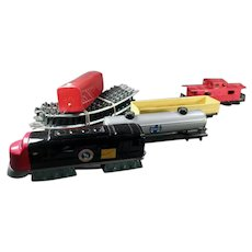 Vintage Bandai Battery Operated Japanese Tin Train Set with Track Pieces