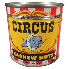 Vintage Circus Cashews Nut Tin - Colorful Little Tin with Elephant Logo
