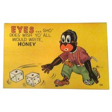 Unused Vintage Black Memorabilia Postcard – Snake Eyes Dice