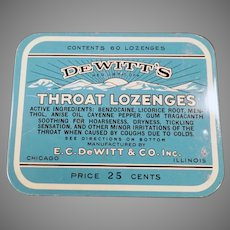 Vintage Medicine Tin - 25c 60 Count De Witt's Throat Lozenges Tin
