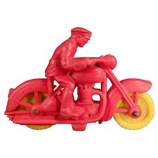 Vintage Auburn Rubber Motorcycle Toy with Rider - Small Size