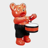 Vintage Japanese Celluloid Wind-up Toy - Colorful Drumming Bear