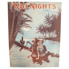 Vintage Sheet Music - 1920 Rio Nights Waltz with Nice Graphics