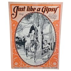 Vintage Sheet Music – Just Like a Gipsy with Nice Graphics with a Wandering Gypsy
