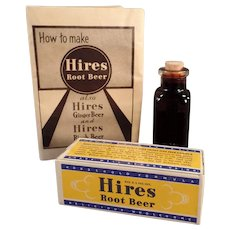 Vintage Hires Root Beer Extract Bottle with Original Sample Package