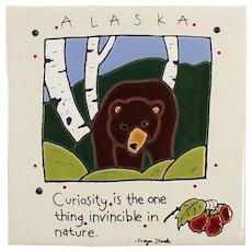 Freya Stark Ceramic Art Tile - Alaskan Bear Souvenir
