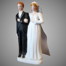 Small Vintage Bride with Veil & Groom – Wedding Cake Topper - Occupied Japan