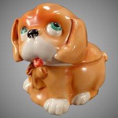 Vintage Porcelain Dresser Box - Adorable Puppy Dog - Made in Germany