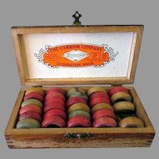 Vintage, 1902 Ludington Carrom Company Game Pieces in Original Wood Box