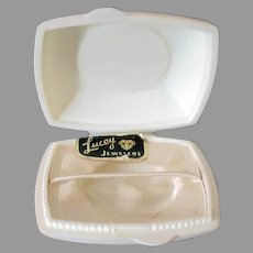 Vintage Ring Box – Small, White Plastic Flat Box for a Gold Band