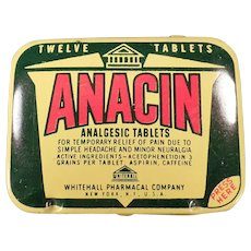 Vintage Anacin Analgesic Twelve Tablet Medicine Advertising Tin