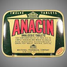 Vintage Anacin Analgesic Twelve Tablet Medicine Advertising Tin