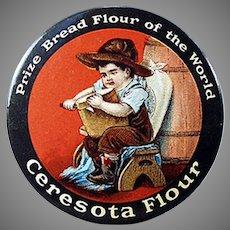Vintage Celluloid Pocket Mirror Advertising Ceresota Flour - Nice Condition