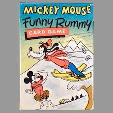 Vintage Mickey Mouse Funny Rummy Card Game with Original Box - Colorful Disney Characters