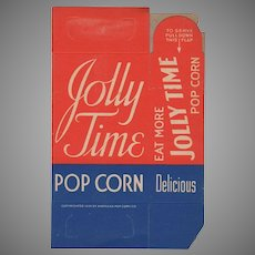 Vintage, Never Used N.O.S. Jolly Time Popcorn Box from 1939