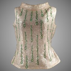 Ladies 1960's Vintage Beaded and Sequined Shell Top - Eloquent Evening Wear