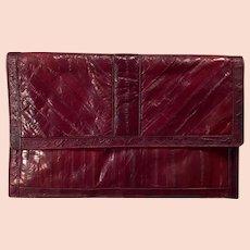 Vintage Saffron Eel Skin Handbag Clutch - Beautiful Cordovan/Mahogany - 1970's 1980's
