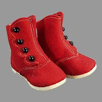 Vintage Red Felt & Black Button Baby Shoes - Alfred Dolge's Slippers