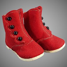 Vintage Red Felt & Black Button Baby Shoes - Alfred Dolge's Slippers