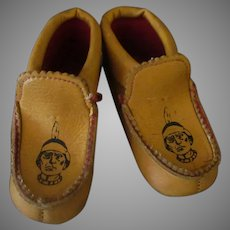Child's Vintage Moccasin Slipper Shoes with Indians on the Top