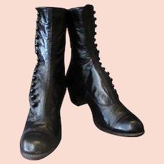 Ladies Vintage High Button Black Leather Shoes