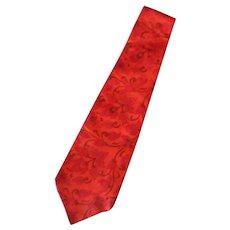 Men's Vintage Necktie – Floral Paisley Design in Reds and Orange