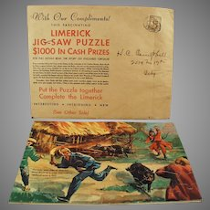 Vintage Advertising Premium - Davoe & Raynolds - Fun & Colorful Limerick Puzzle