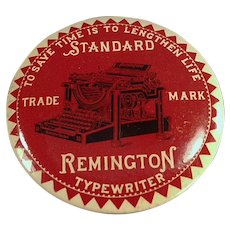 Vintage Celluloid Advertising Mirror Paperweight - Remington Typewriter