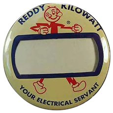 Vintage Reddy Kilowatt Name Badge Advertising Pinback