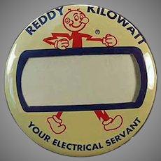 Vintage Reddy Kilowatt Name Badge Advertising Pinback