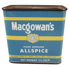 Vintage Macgowan's Allspice Spice Tin with Coffee Advertising