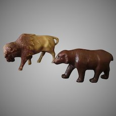 Vintage Miniature Celluloid Toy Figures – Buffalo and Brown Bear - Made in USA