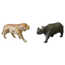 Vintage Miniature Celluloid Toys Made in USA – Tiger and Rhinoceros