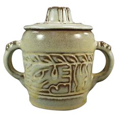 Vintage Frankoma Pottery - Mayan Aztec Pattern Covered Sugar - Desert Gold