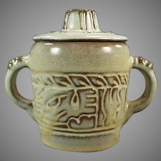 Vintage Frankoma Pottery - Mayan Aztec Pattern Covered Sugar - Desert Gold