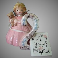 Vintage Josef Original – #2 Birthday Girl Angel - Age Two with Teddy Bear