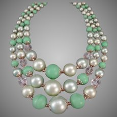 Vintage Costume Jewelry Three Strand Bead Necklace in Pastel Greens - Japan