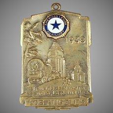 Vintage 1938 American Legion Auxiliary Watch Fob - Los Angeles California