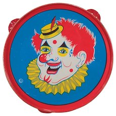 Vintage Toy Tambourine with Brightly Colored Clown - Old Tin Noise Maker