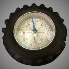Vintage Toy Compass in Little Automotive Tire - Fun Stocking Stuffer of Old