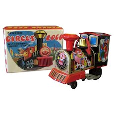 Vintage Tin Friction Toy - Circus Loco Train with Colorful Original Box