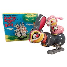 Vintage Jumping Rabbit with Bunny Baby Wind Up Boxed Toy – See on Facebook
