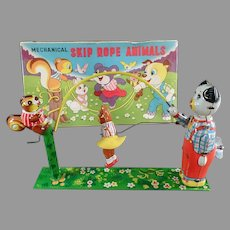 Vintage T.P.S. Japanese Tin Wind-up Skip Rope Animals Toy with Original Box