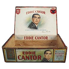 Vintage Eddie Cantor Paper Labeled Wooden Cigar Box