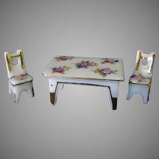 Vintage Miniature Porcelain Bone China Table and Chair Set with Floral Design