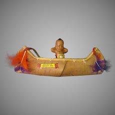 Vintage Miniature Celluloid Indian Doll in Ojibwa Souvenir Birch Bark Canoe